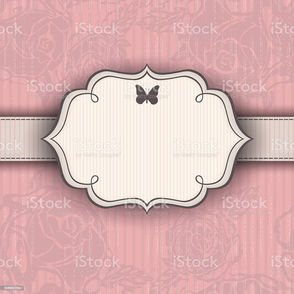 Pink vintage background with a frame and roses vector art illustration