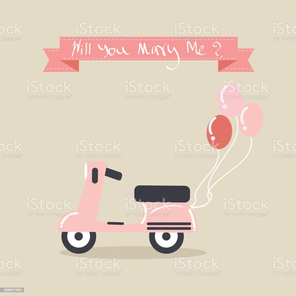 Pink Vintage scooter with balloons for proposal of marriage. vector art illustration