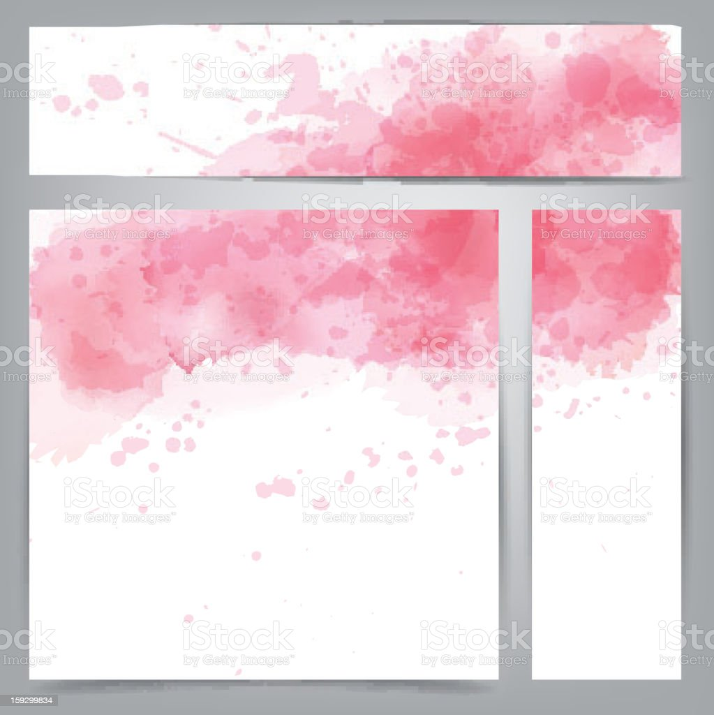 Pink watercolor abstract banners. royalty-free stock vector art