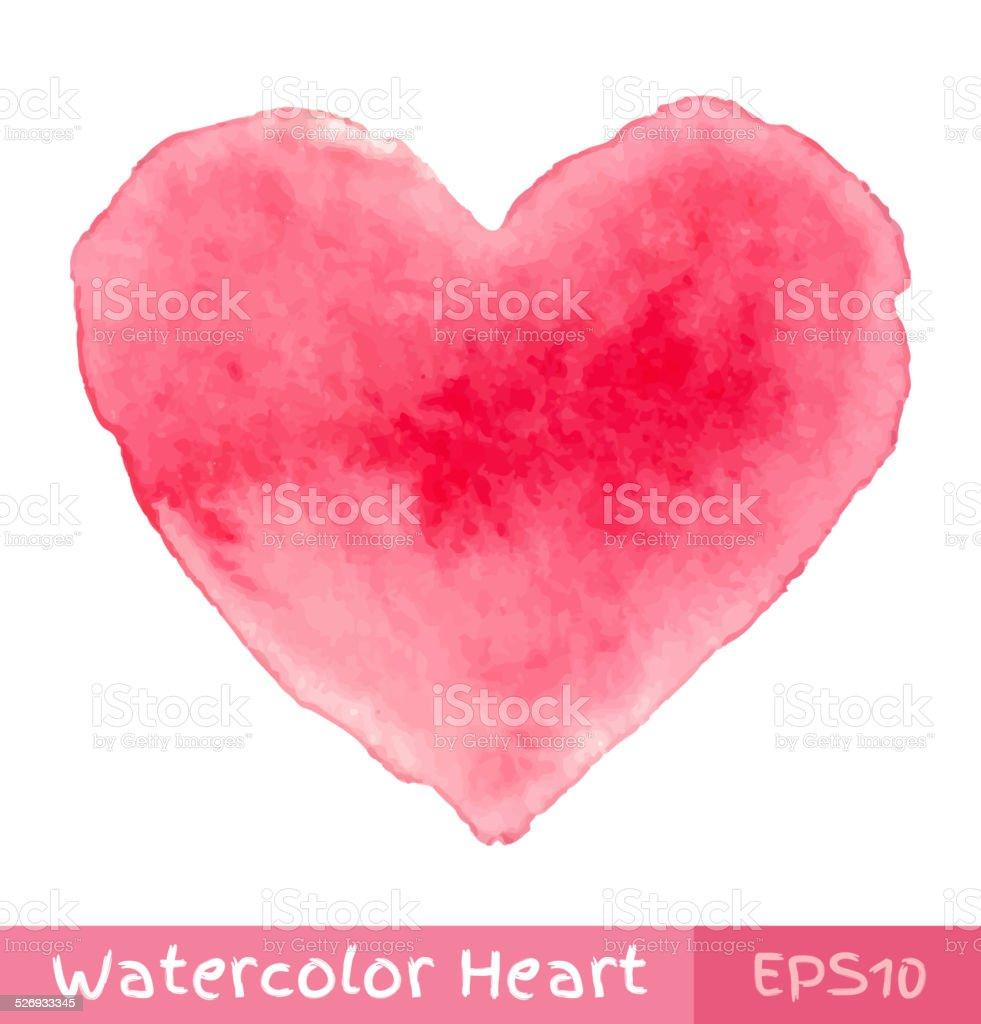 Pink Watercolor Heart vector art illustration