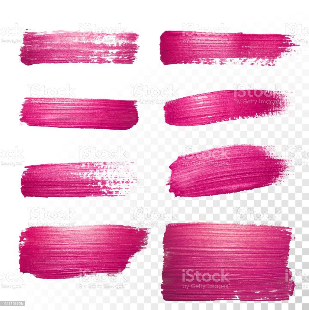 Pink watercolor stroke set. Vector oil paint smear. Polish trace. vector art illustration