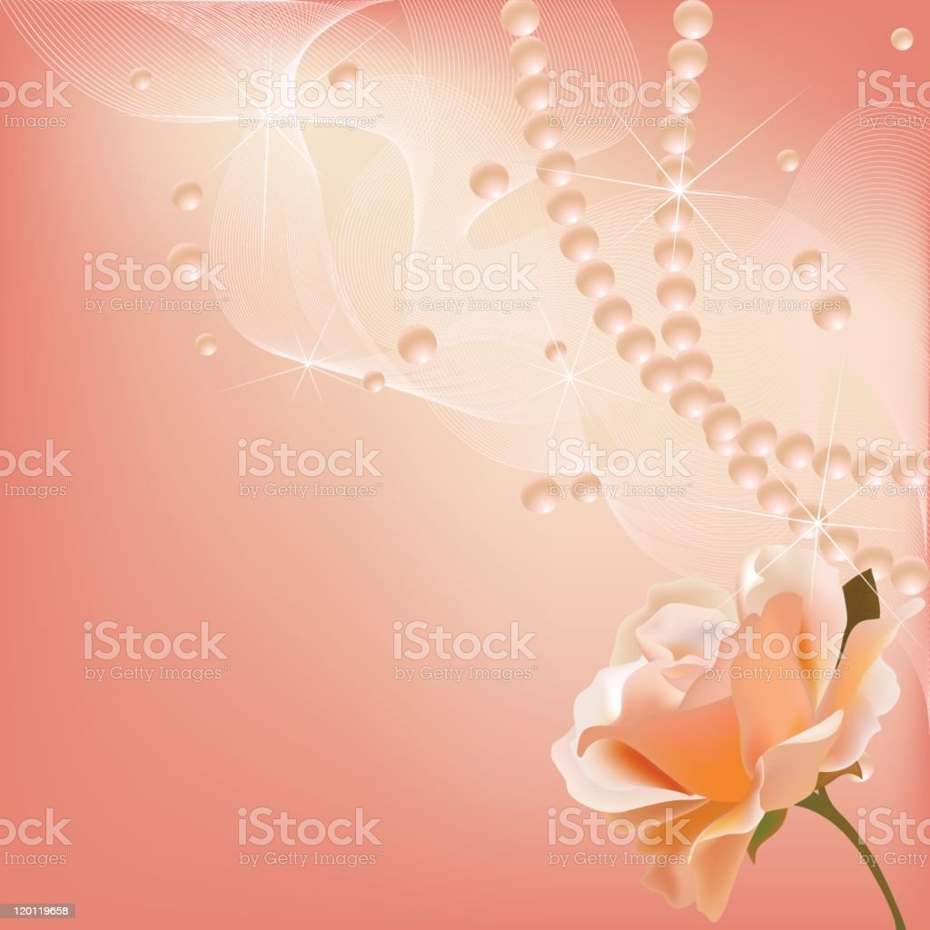 Pink wedding background with pearls, waves and rose royalty-free stock vector art