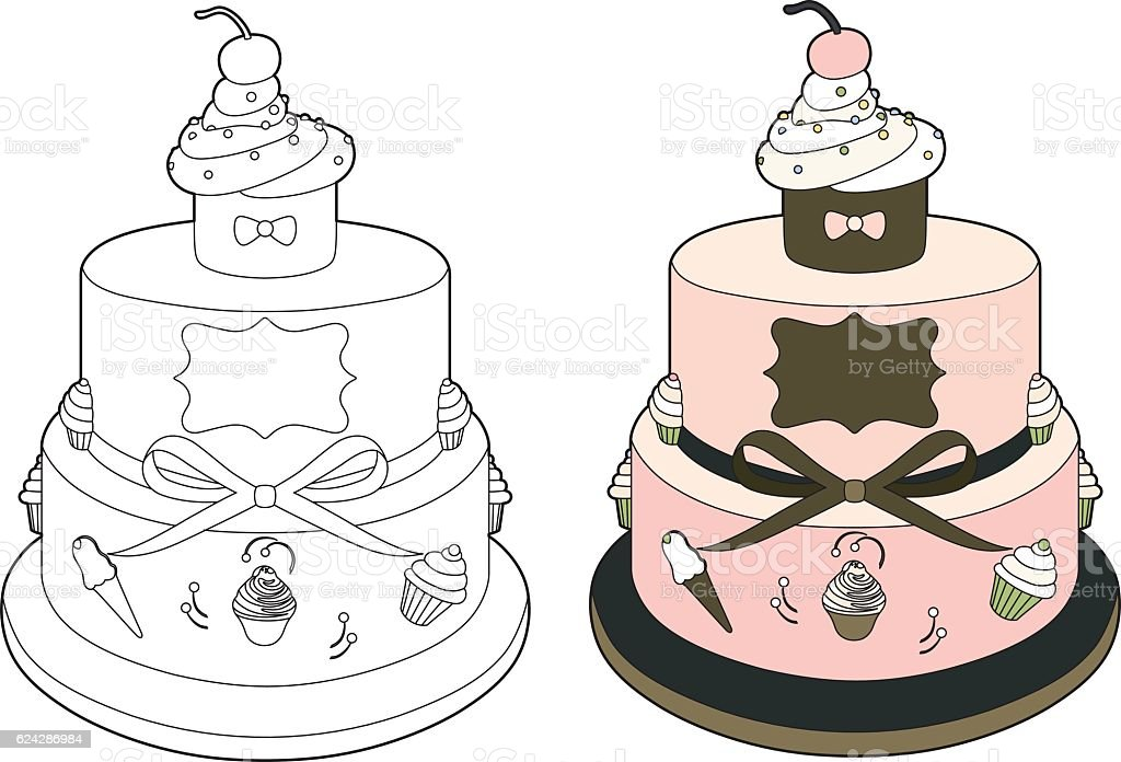 Pink wedding cake vector art illustration