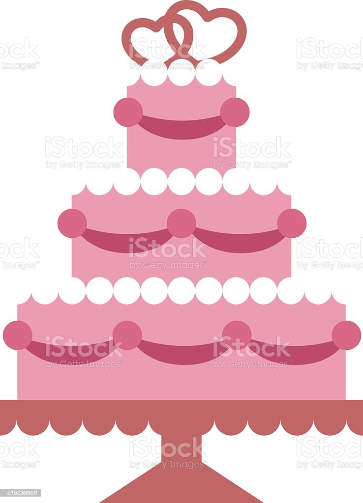Pink wedding cake with hearts and beads flat vector party vector art illustration