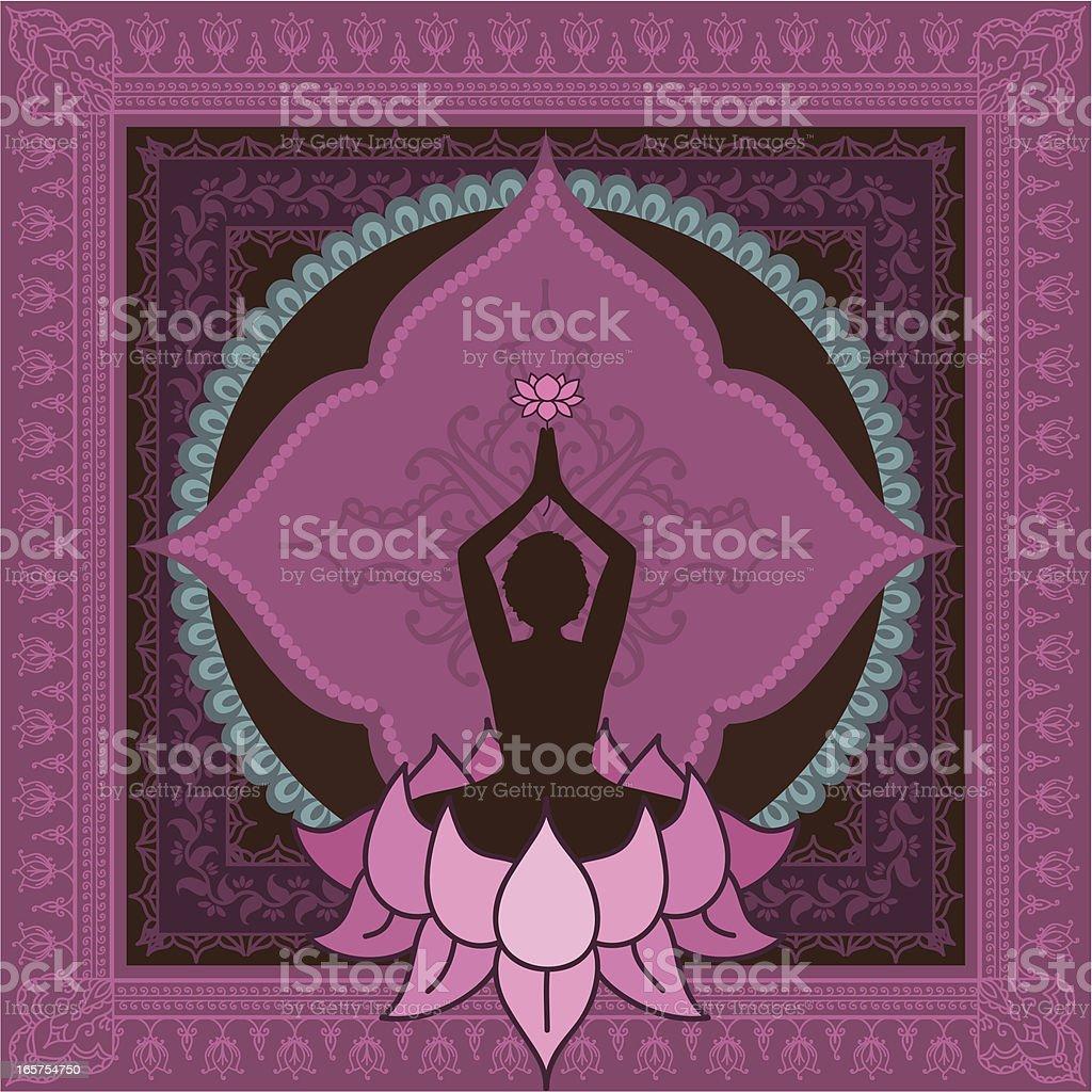 Pink Yoga Figure vector art illustration