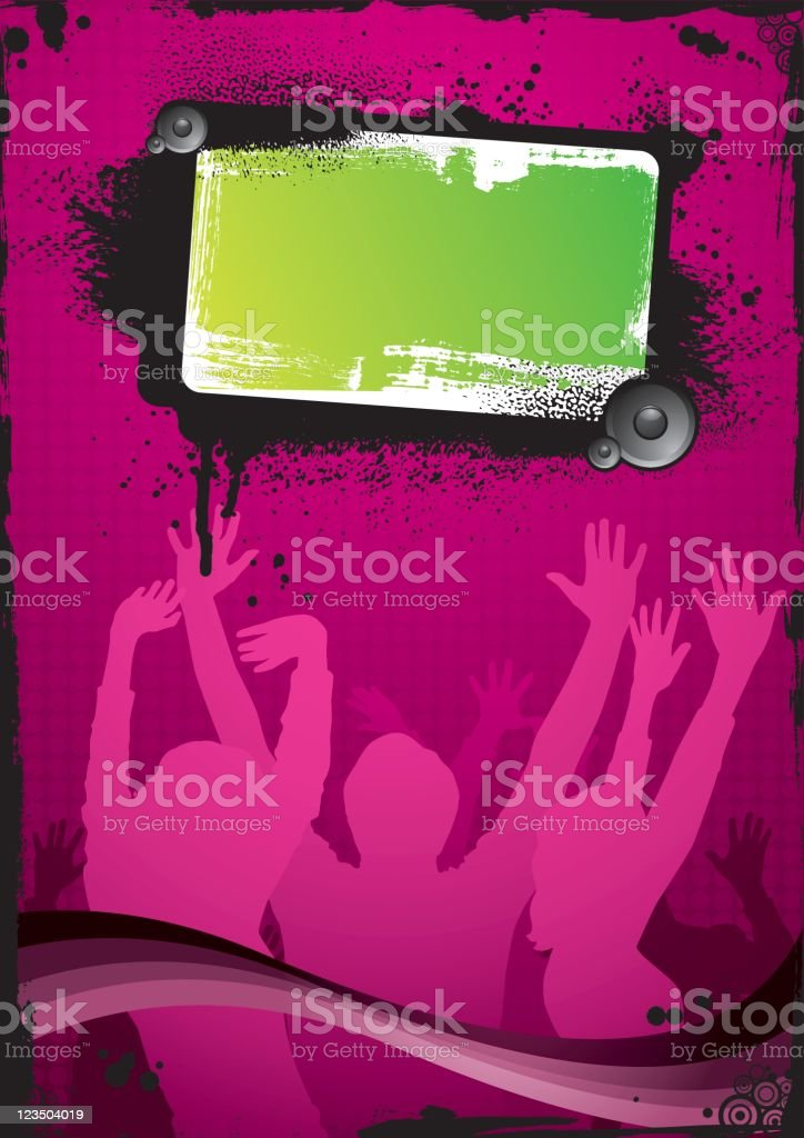 Pink-green party background vector art illustration
