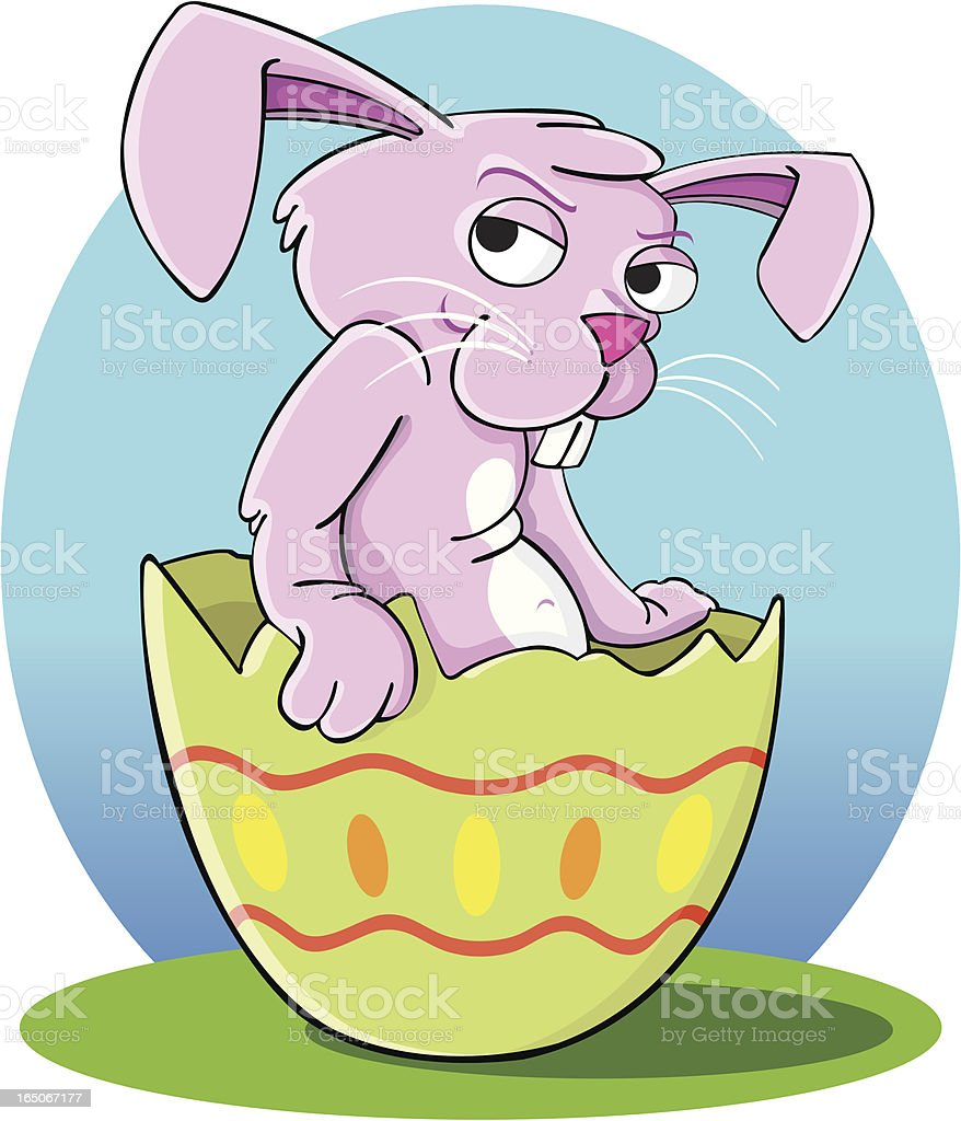 Pinky easter bunny vector art illustration