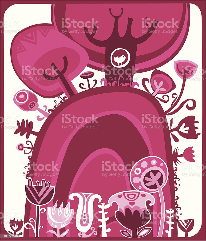 Pinky sunset forest royalty-free stock vector art