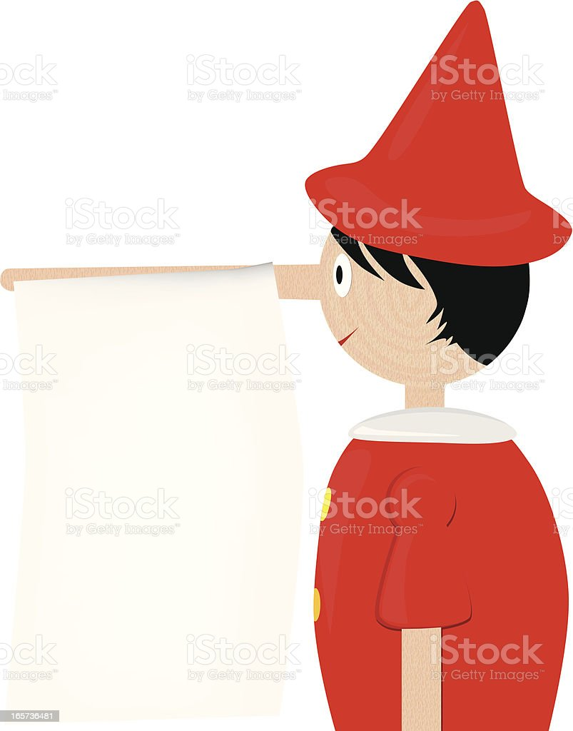 Pinocchio with note on nose royalty-free stock vector art