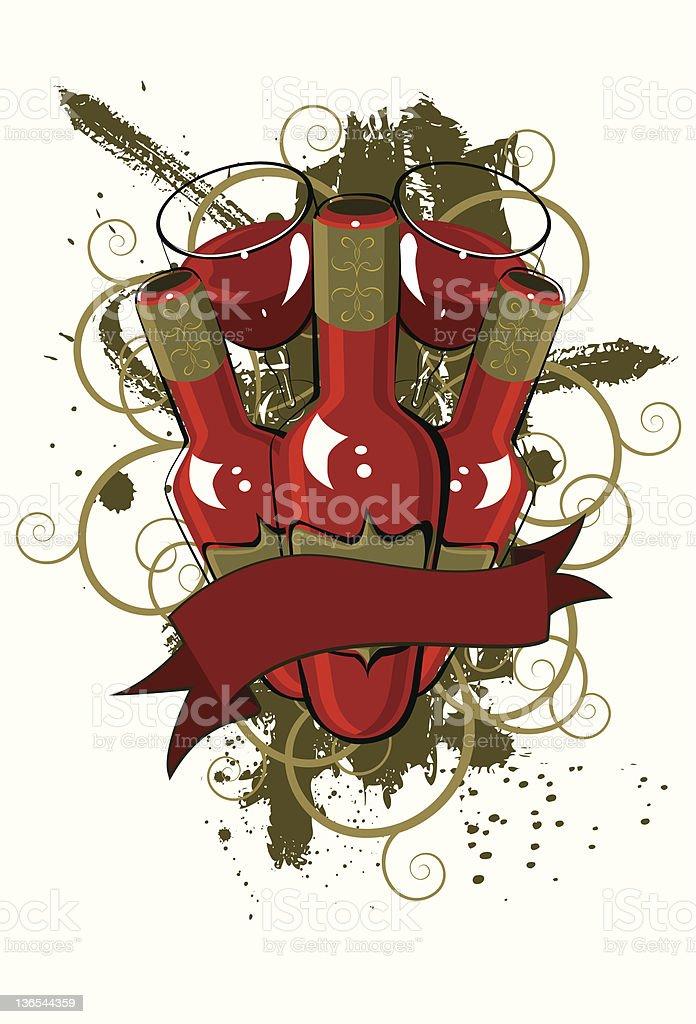 Pinot noir grunge banner royalty-free stock vector art