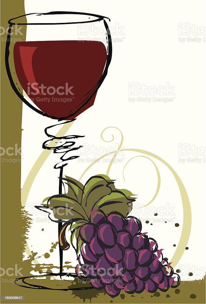 Pinot noir with grapes vector art illustration