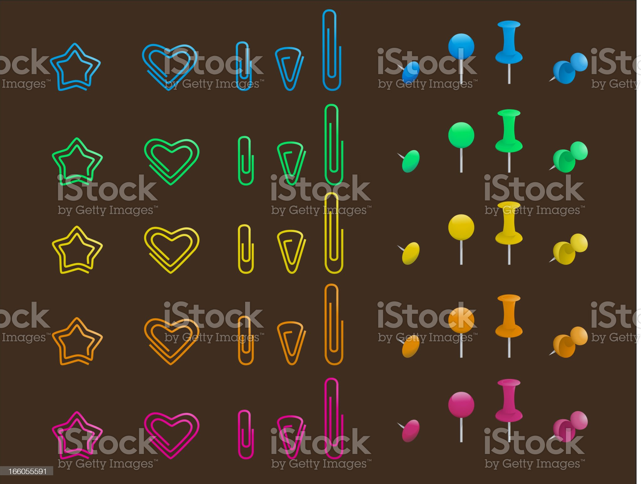 Pins and clips Hitch Set royalty-free stock vector art