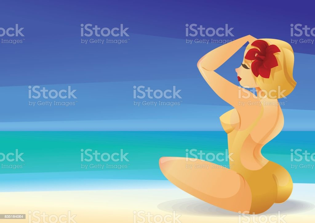 Pinup curvy blonde girl on ocean shore decorates its hair with a flower vector art illustration