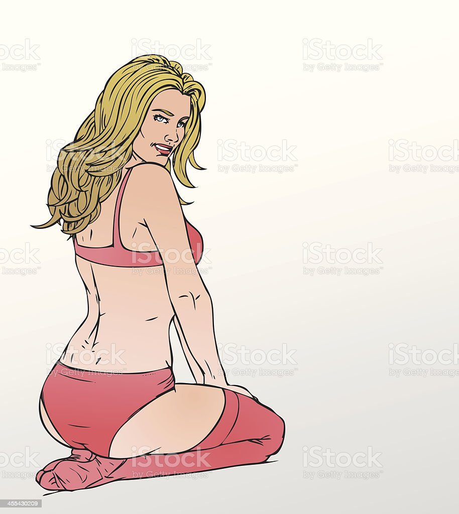 Pinup girl vector art illustration