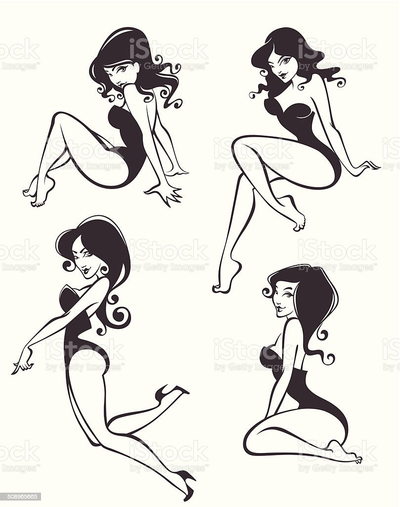 pinup girls in different poses vector art illustration