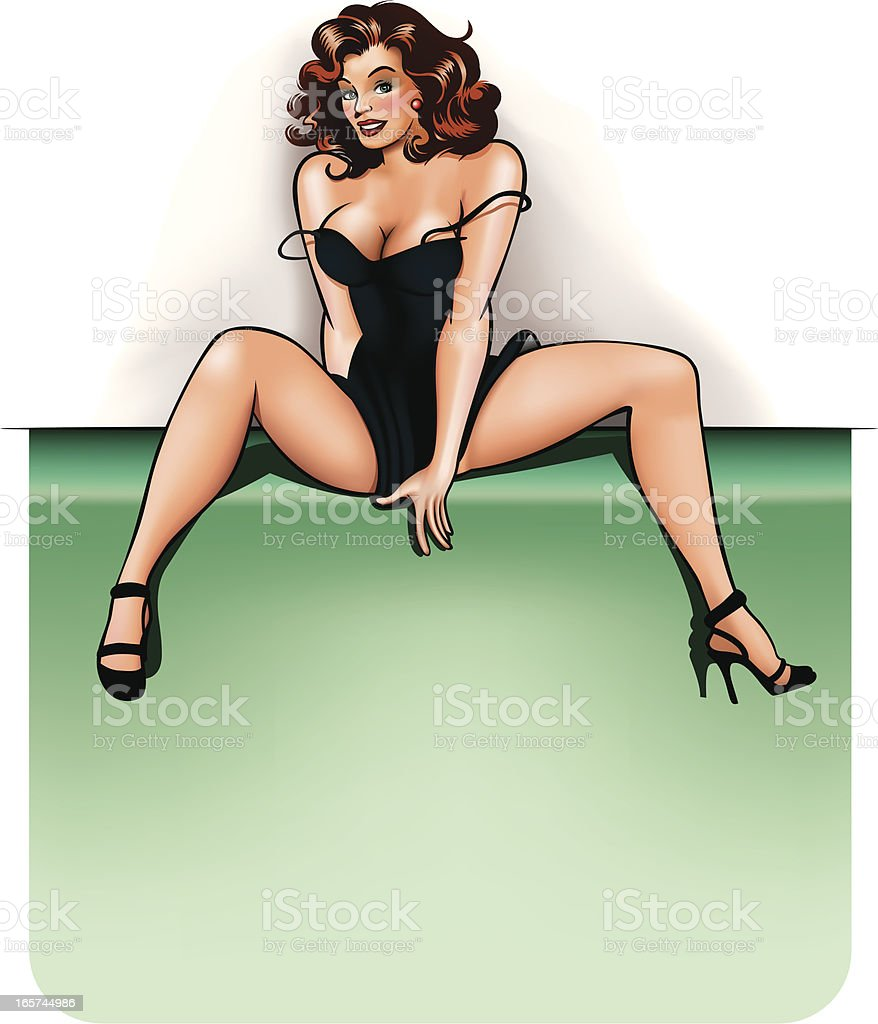 pin-up with copy space vector art illustration