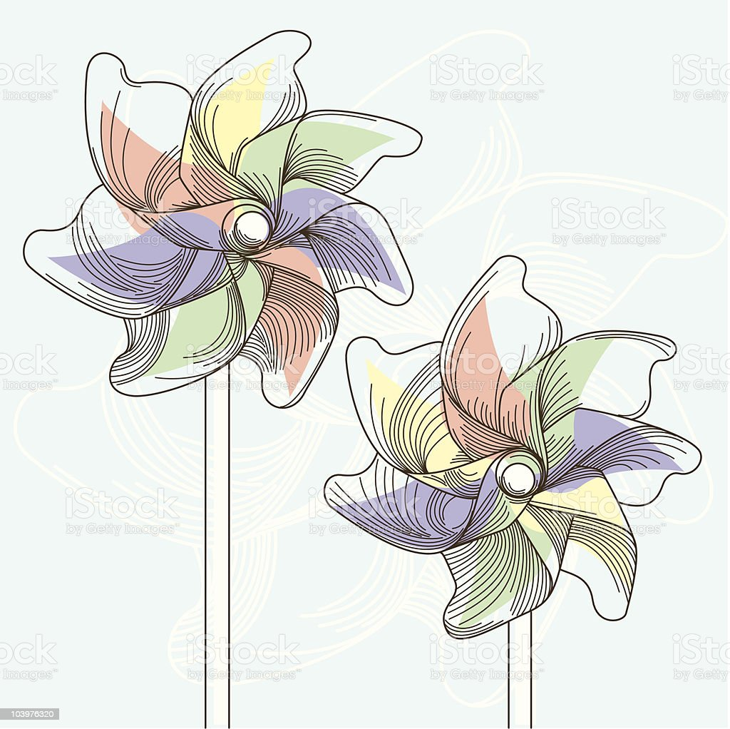 Pinwheels in Summer vector art illustration