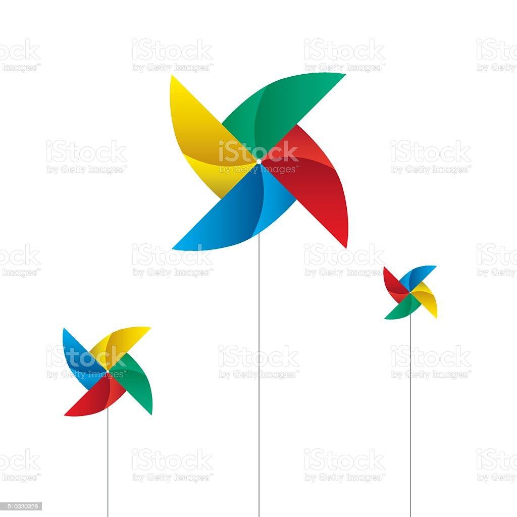 Pinwheels isolated on white vector art illustration