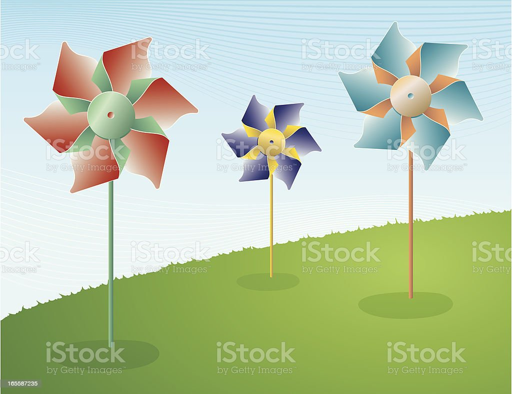 Pinwheels on a hill twirling in the wind vector art illustration