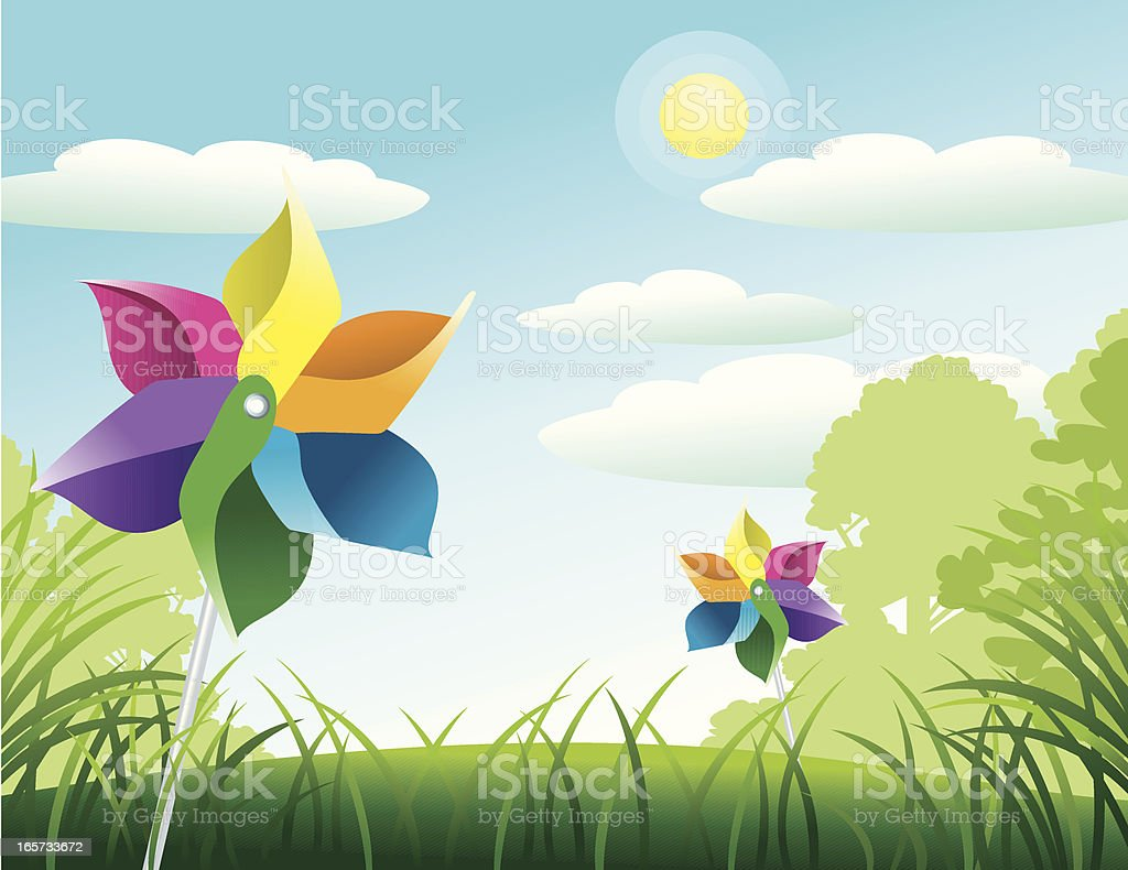 Pinwheels on a Summer Day vector art illustration