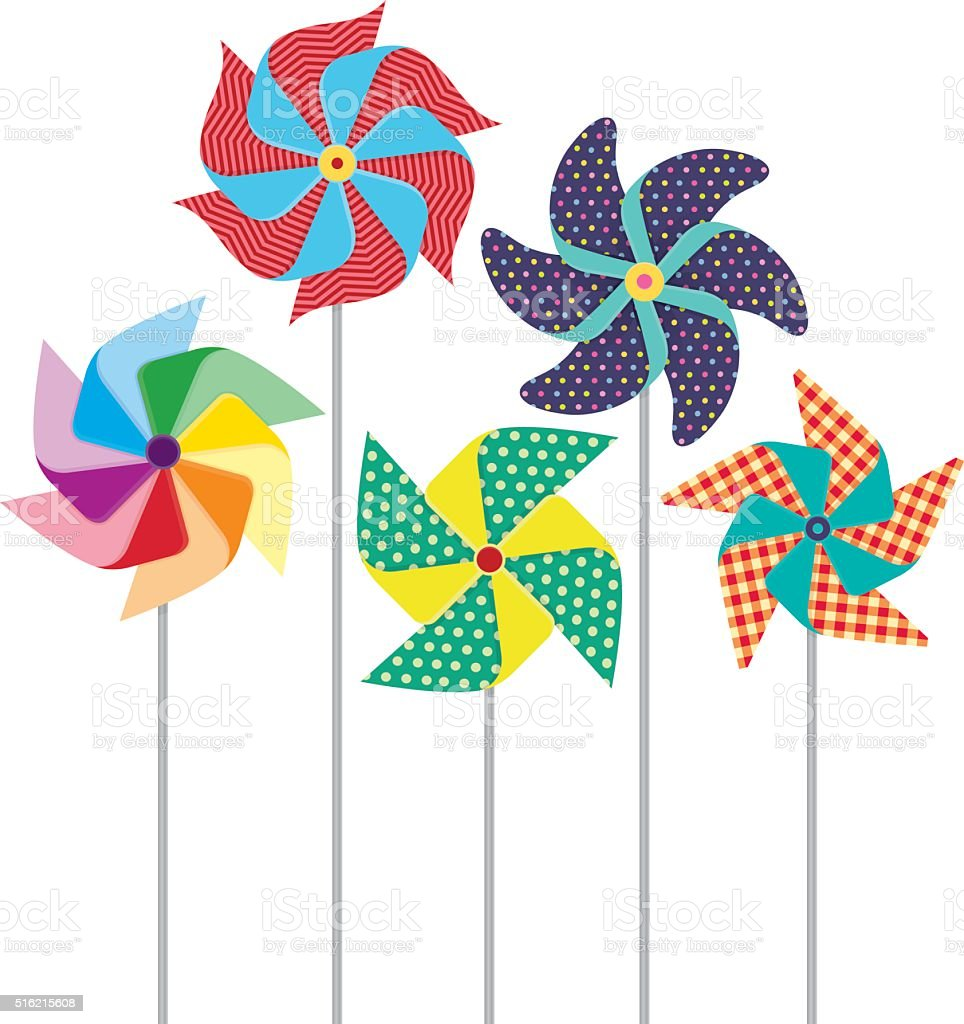 Pinwheels Windmills vector art illustration