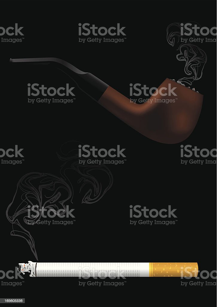 pipe and cigarette royalty-free stock vector art