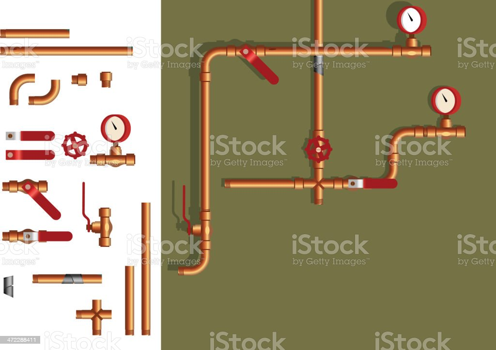 pipe elements vector art illustration