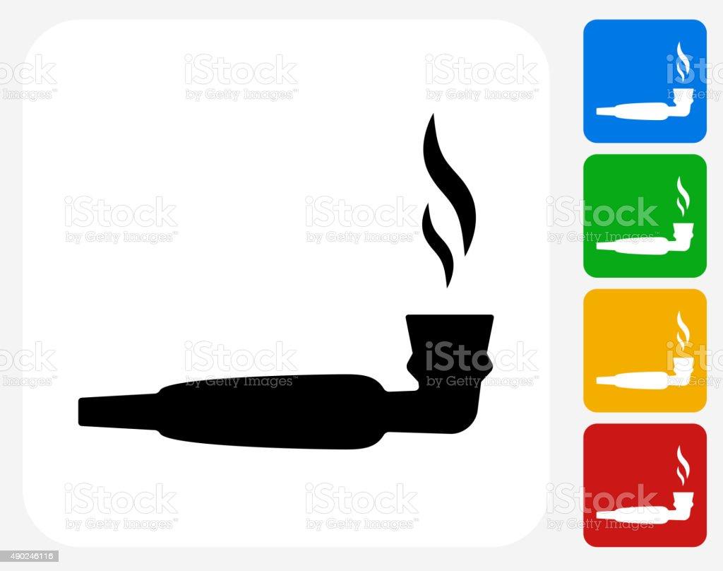 Pipe Marijuana Icon Flat Graphic Design vector art illustration