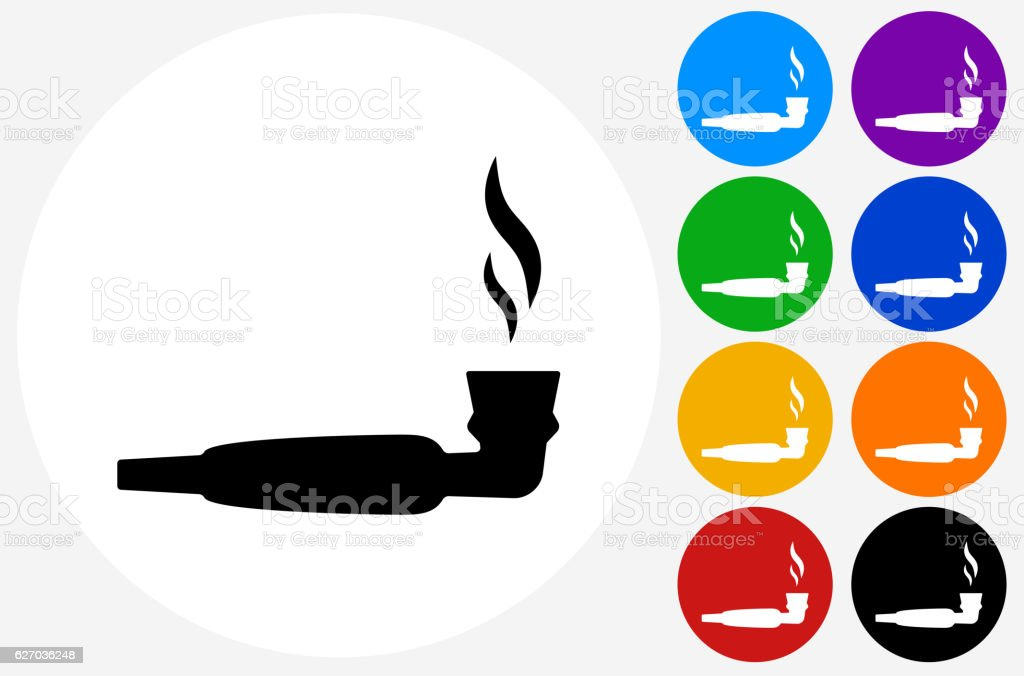 Pipe Marijuana Icon on Flat Color Circle Buttons vector art illustration