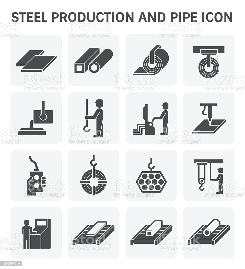 Pipe production icon vector art illustration