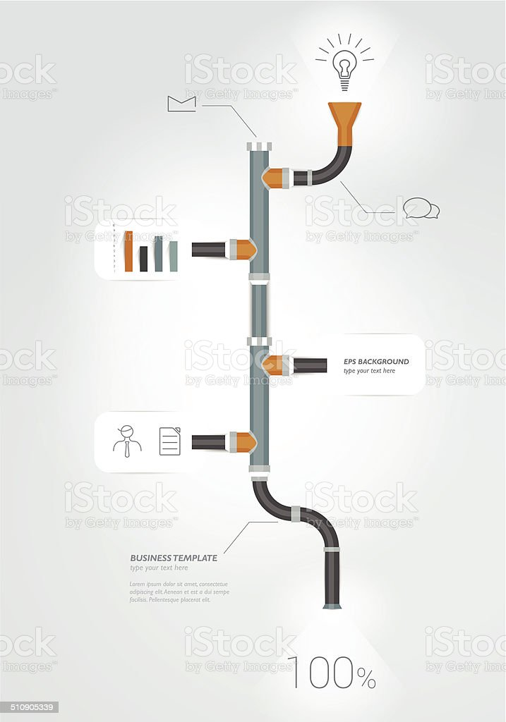 Pipe timeline infographics chart. Vector illustration. vector art illustration