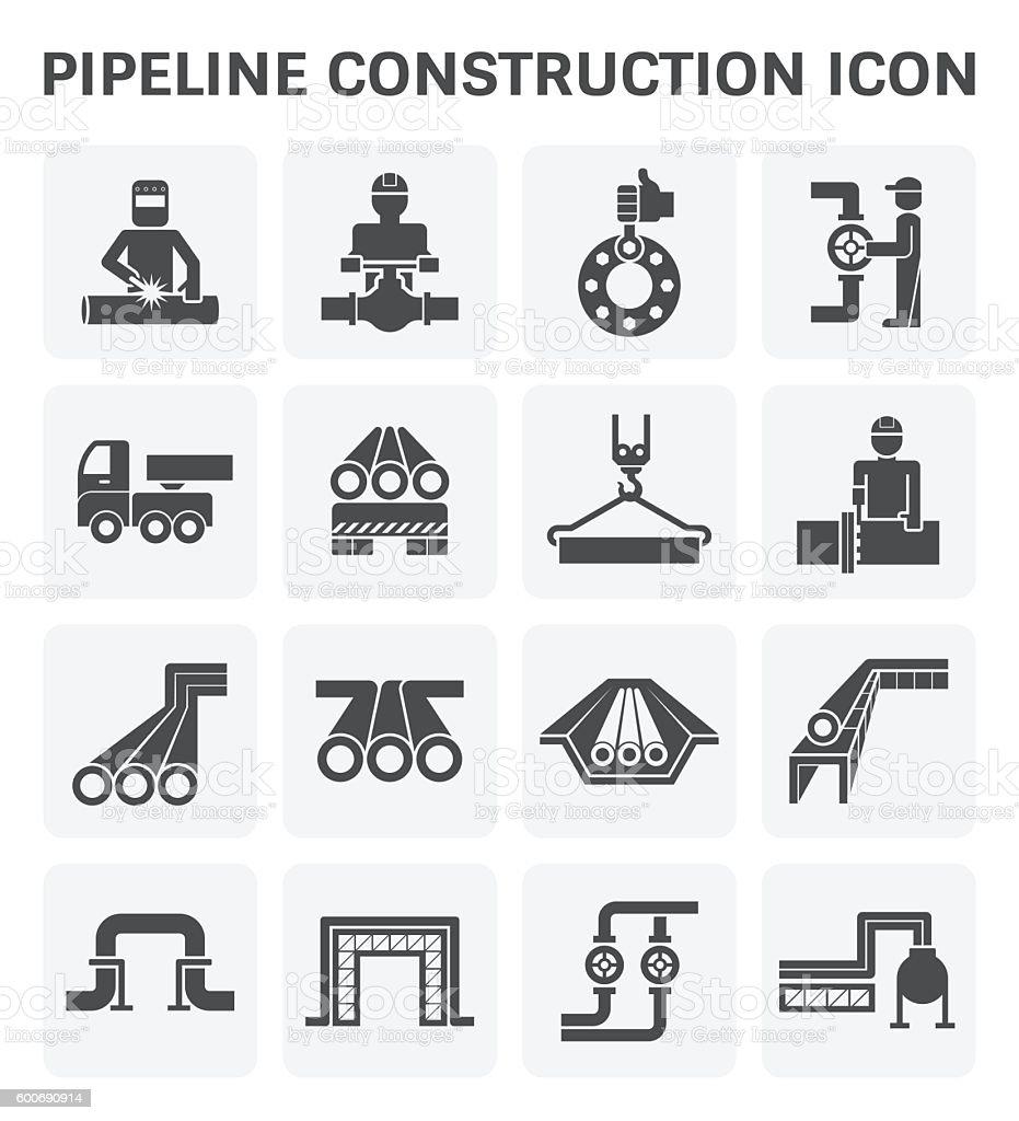 Pipeline construction icon vector art illustration