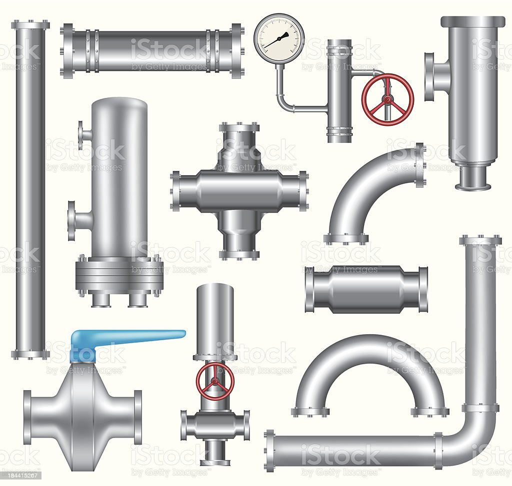 Pipeline elements vector art illustration