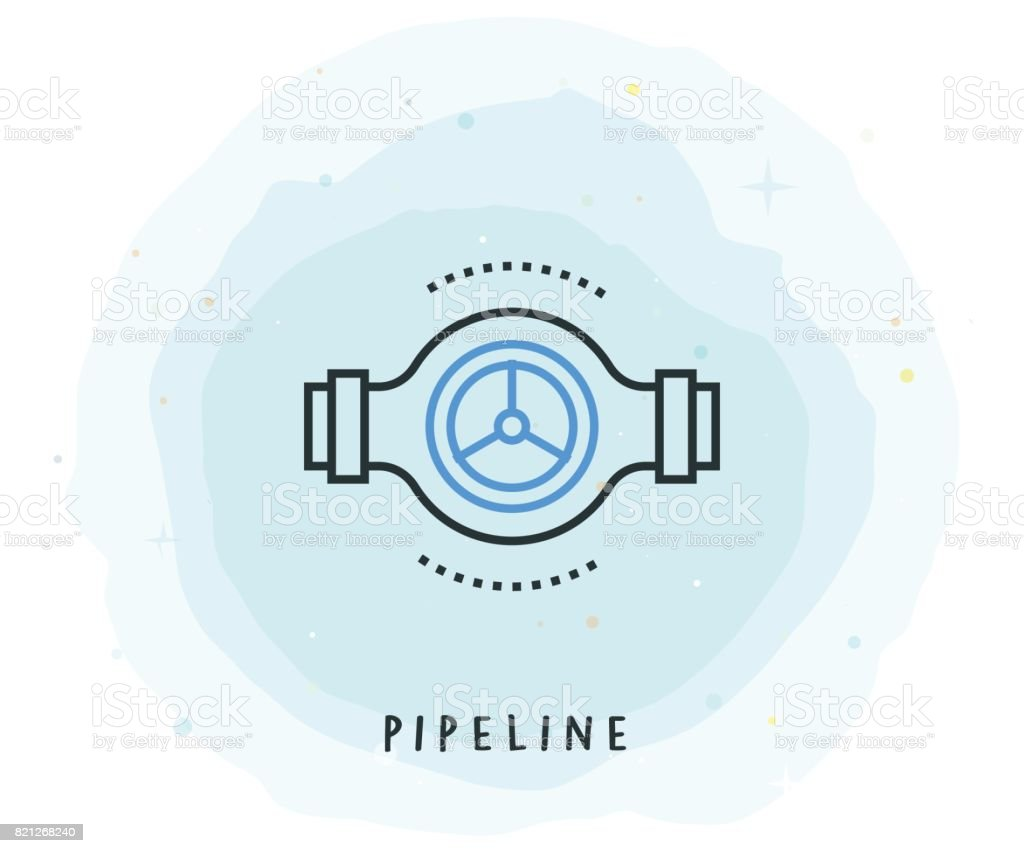 Pipeline Icon with Watercolor Patch vector art illustration