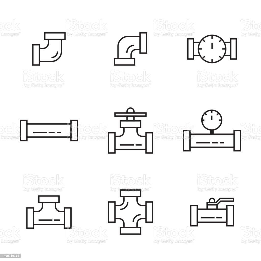Pipes and fittings vector art illustration