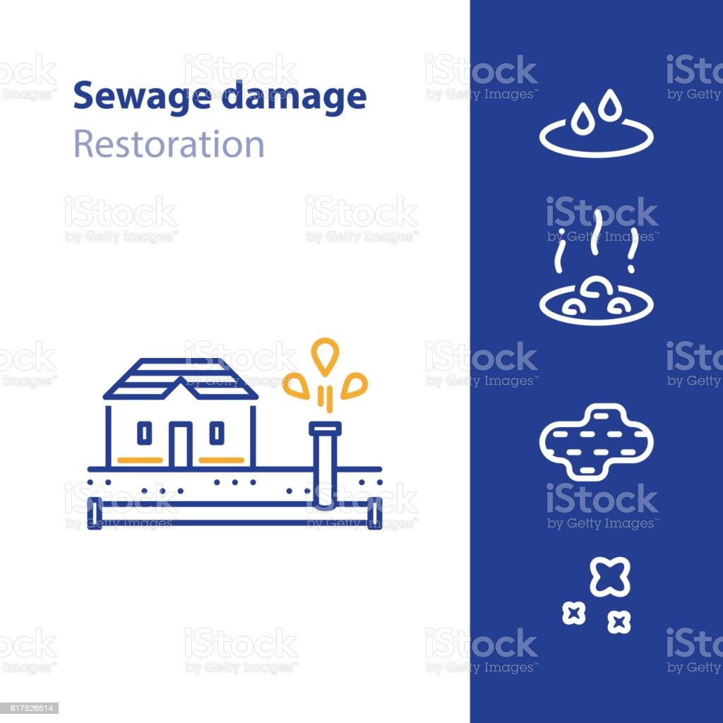 Pipes break, leaking water, sewer damage concept icon vector art illustration