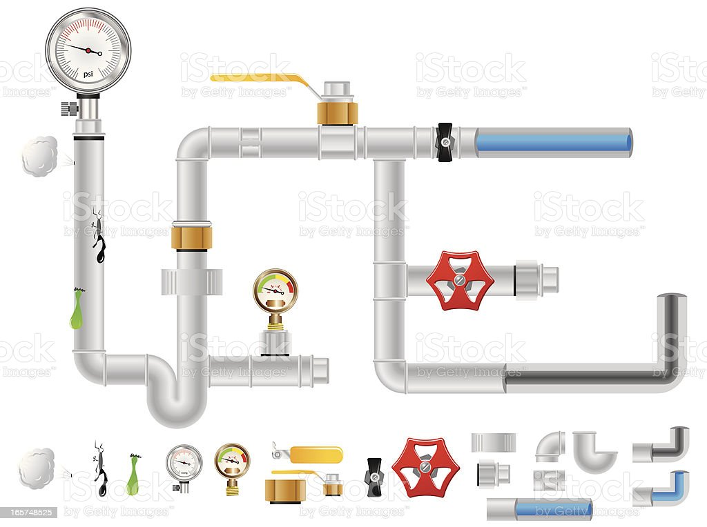 Pipes, gauges and valves vector art illustration