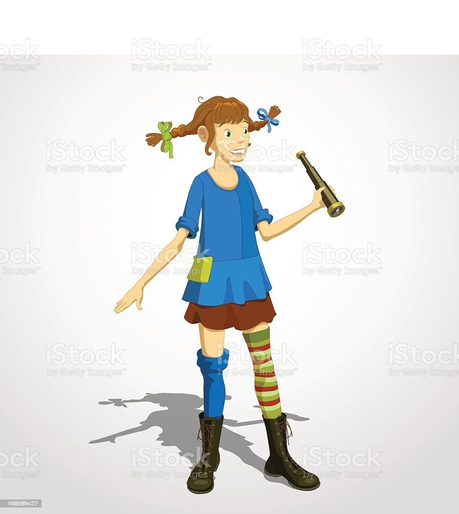Pippi longstocking 01 vector art illustration