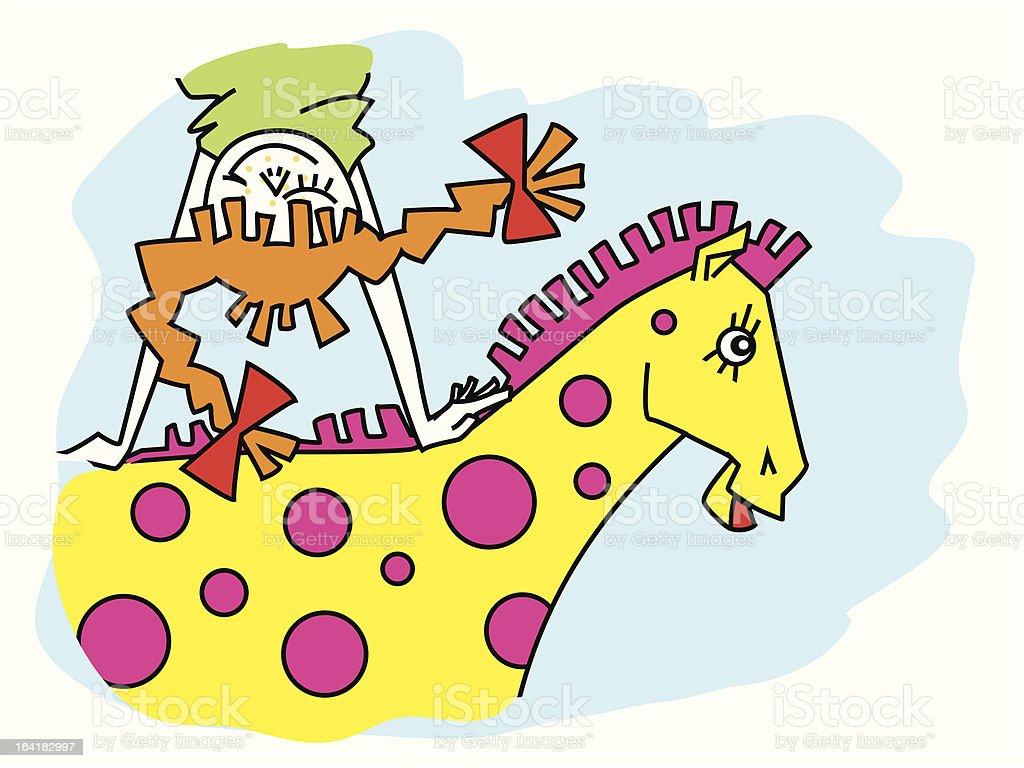 Pippi Longstocking vector art illustration