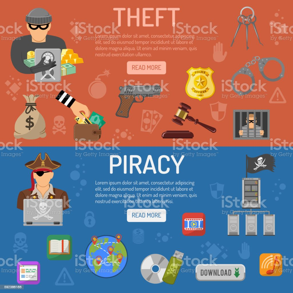 Piracy and Theft Banners vector art illustration