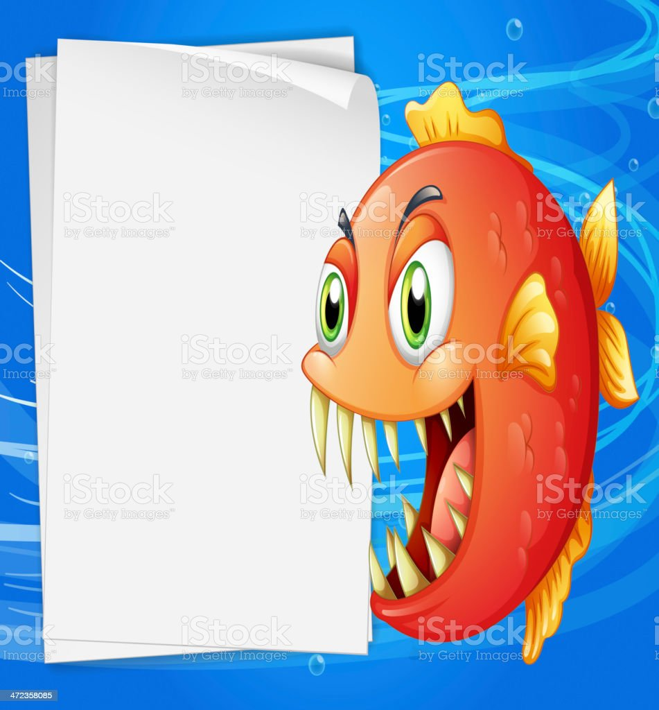 Piranha under the sea beside an empty paper royalty-free stock vector art