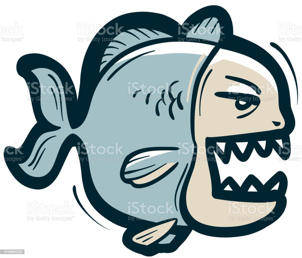piranha vector logo. fish or fishing icon vector art illustration