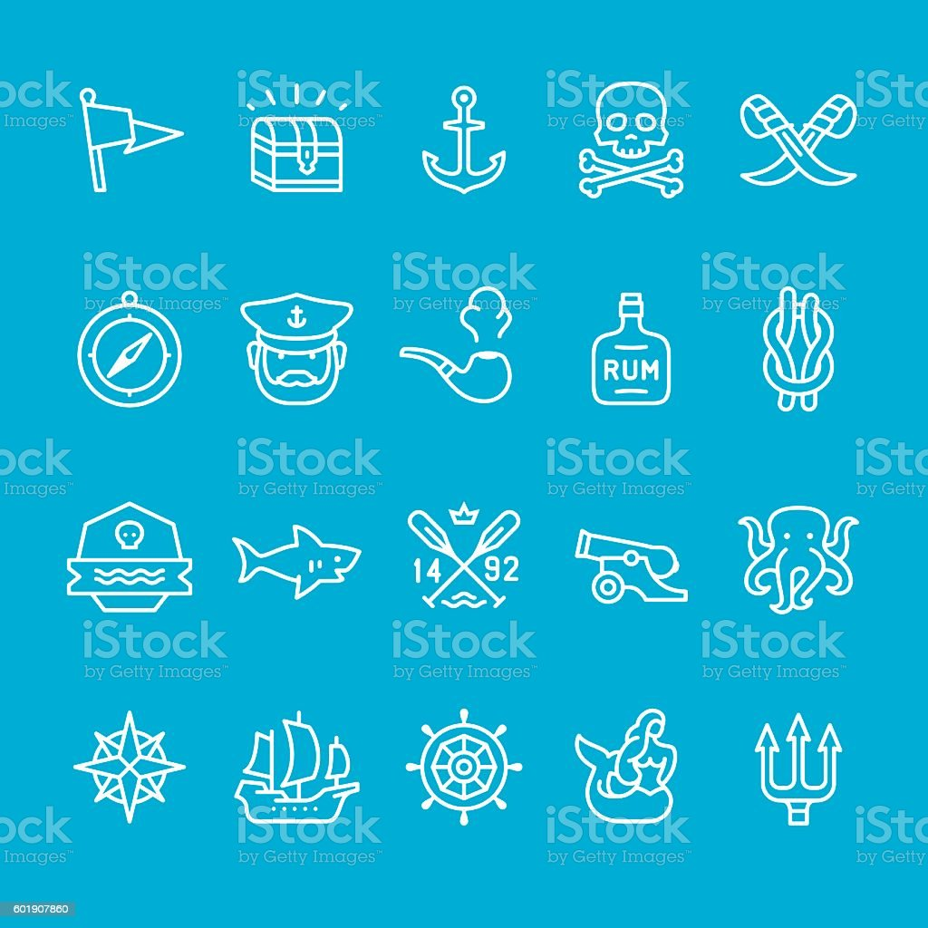 Pirate and Sailor theme icons vector art illustration