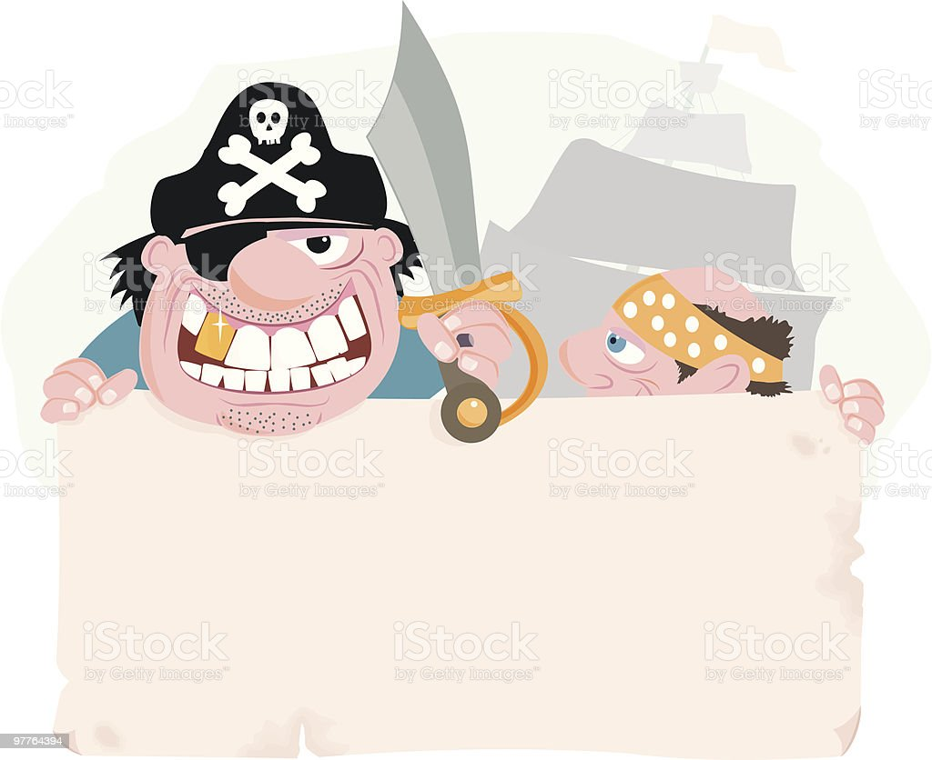 Pirate Banner vector art illustration