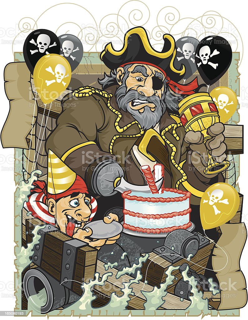 Pirate Birthday Party royalty-free stock vector art