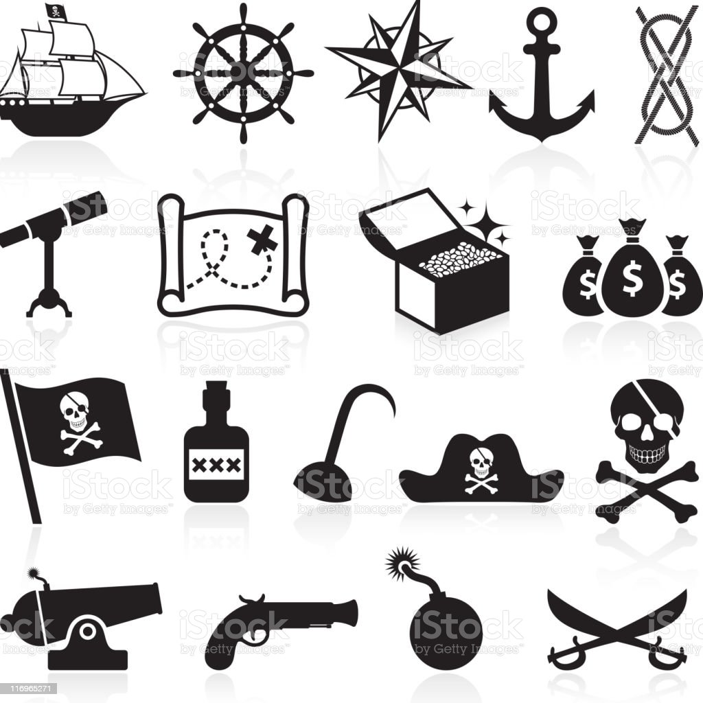 Pirate black and white icon set vector art illustration
