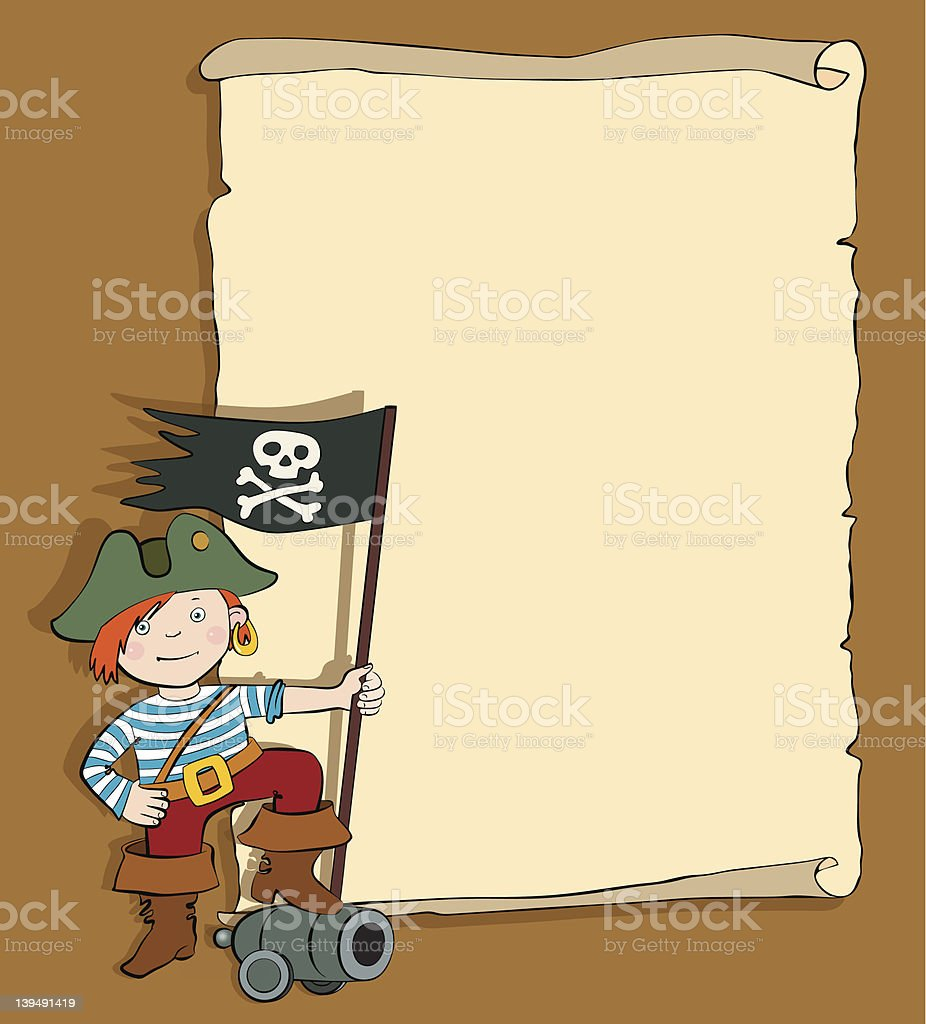 Pirate Boy with scroll royalty-free stock vector art