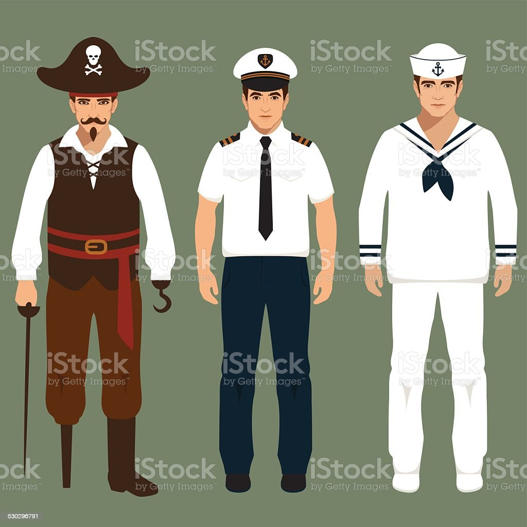 pirate, captain and sailor vector art illustration