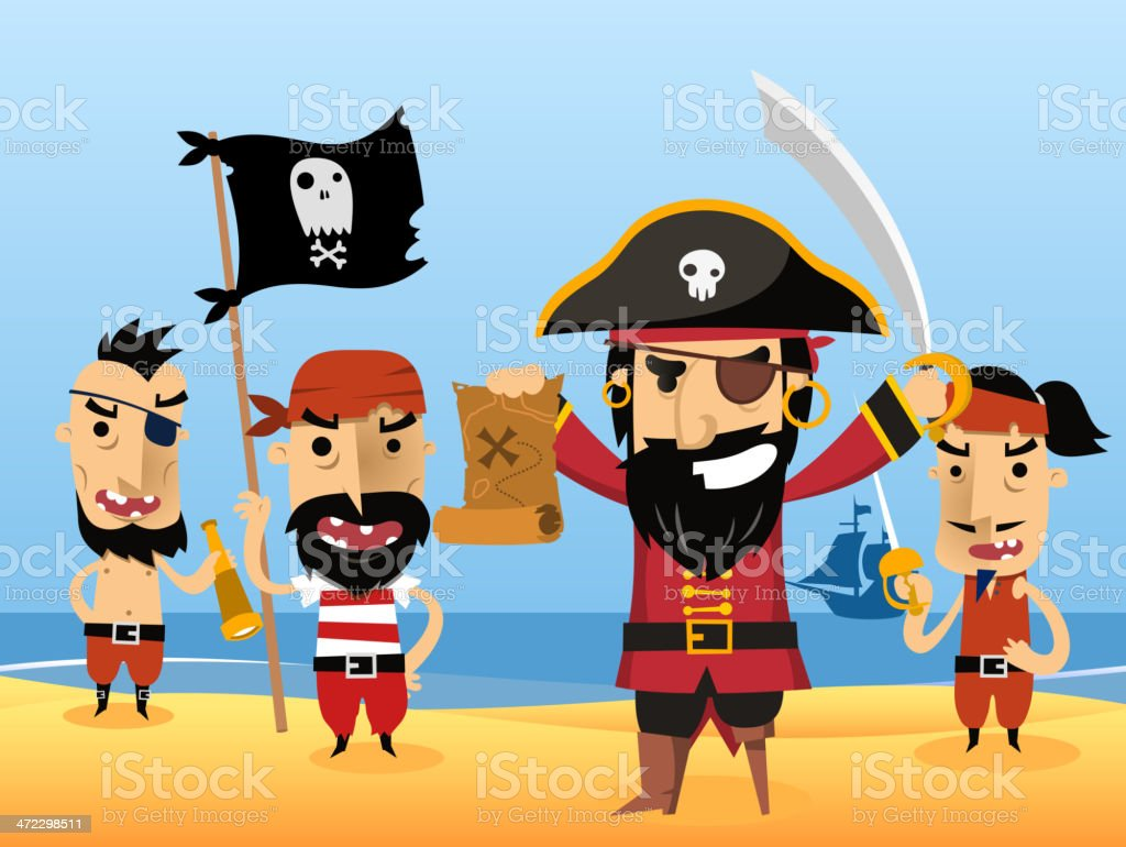 Pirate Characters with flag sword eye patch skull royalty-free stock vector art