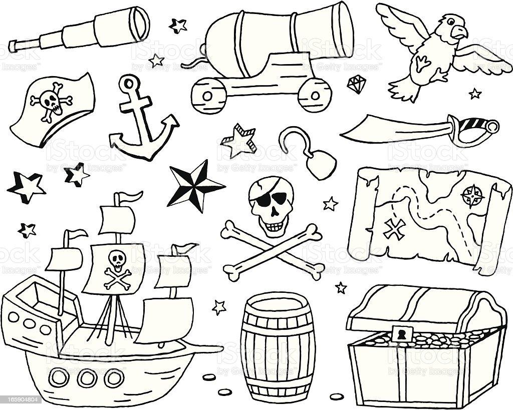 Pirate Doodles vector art illustration